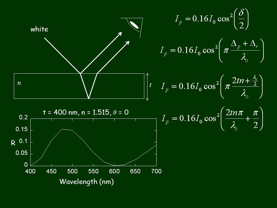 white n t Wavelength (nm) R t = 400 nm, n = 1.515,  = 0
