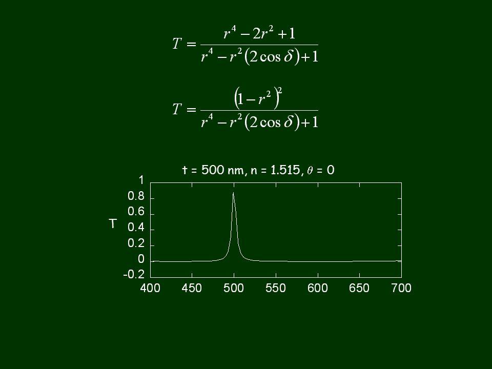 t = 500 nm, n = 1.515,  = 0 T