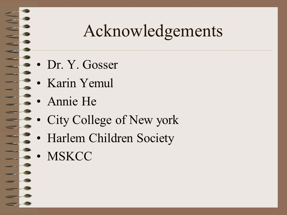 Acknowledgements Dr. Y.