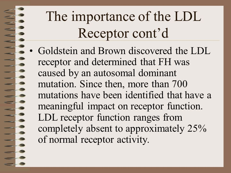 The importance of the LDL Receptor cont'd Goldstein and Brown discovered the LDL receptor and determined that FH was caused by an autosomal dominant m