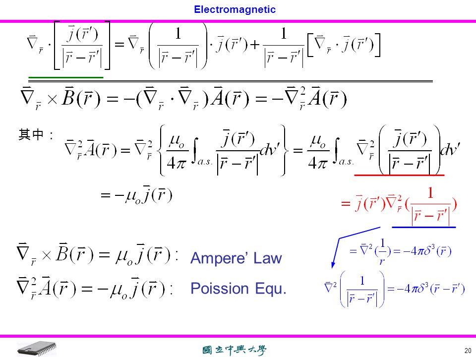 Electromagnetic 20 其中: Ampere' Law Poission Equ.