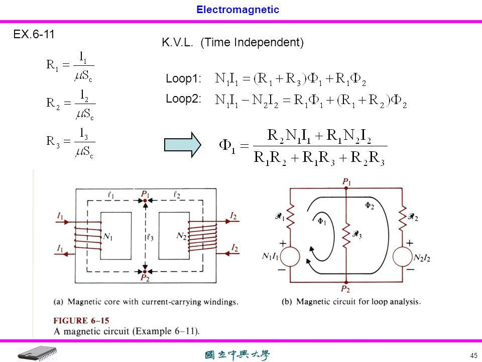 Electromagnetic 45 EX.6-11 K.V.L. (Time Independent) Loop1: Loop2: