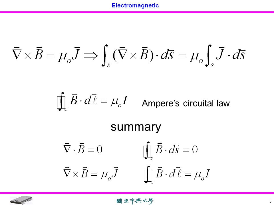 Electromagnetic 5 Ampere's circuital law summary