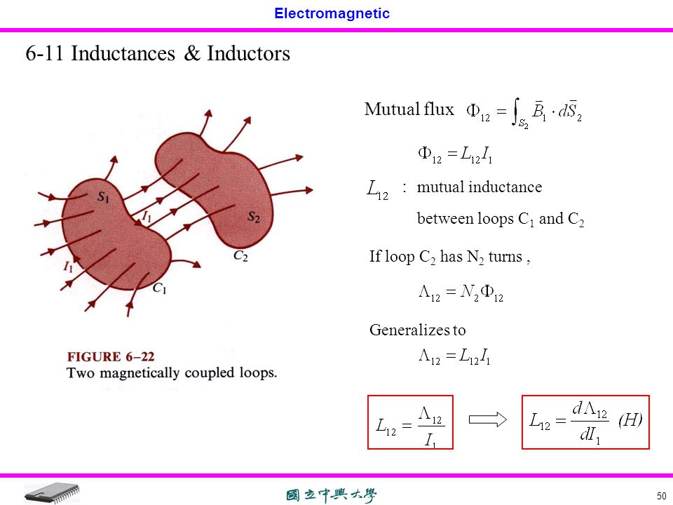 Electromagnetic 50 6-11 Inductances & Inductors Mutual flux : mutual inductance between loops C 1 and C 2 If loop C 2 has N 2 turns, Generalizes to
