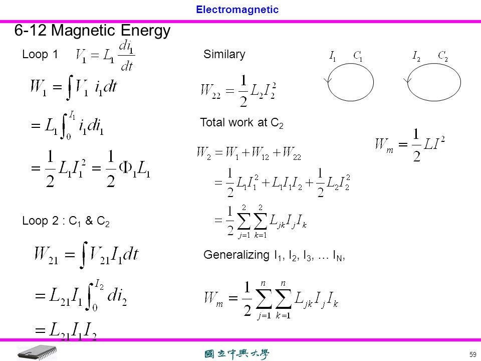 Electromagnetic 59 6-12 Magnetic Energy Loop 1 Loop 2 : C 1 & C 2 Similary Total work at C 2 Generalizing I 1, I 2, I 3, … I N,