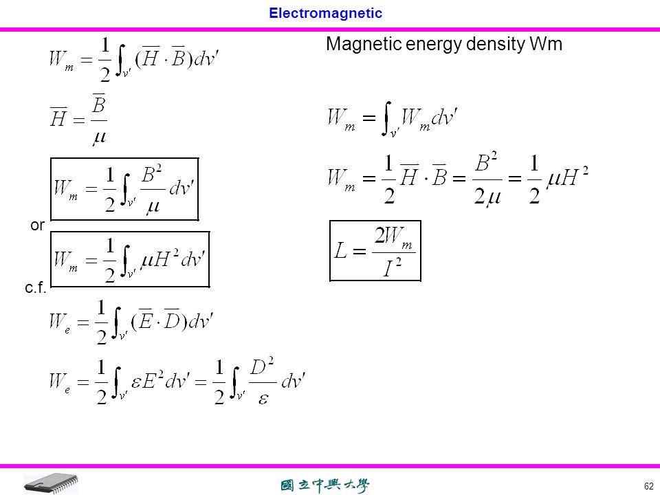 Electromagnetic 62 or c.f. Magnetic energy density Wm