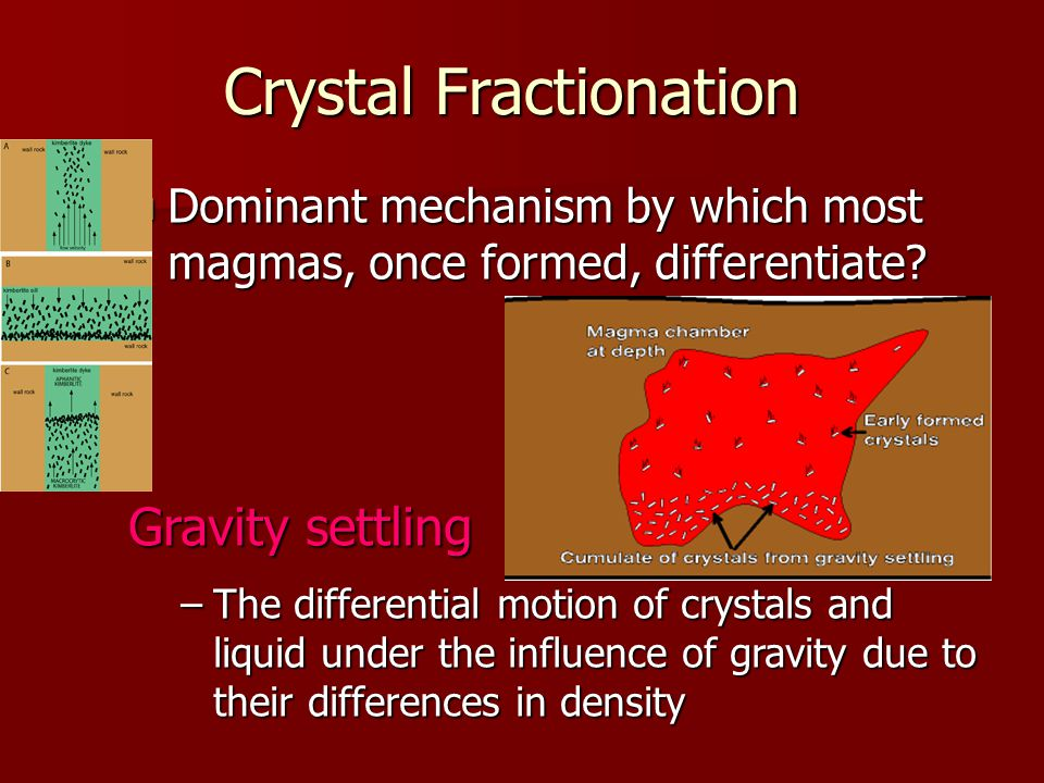 Dominant mechanism by which most magmas, once formed, differentiate.