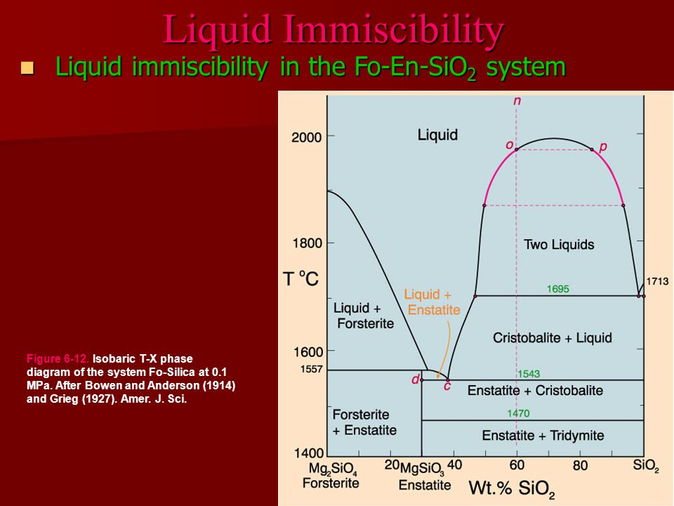 Liquid immiscibility in the Fo-En-SiO 2 system Liquid immiscibility in the Fo-En-SiO 2 system Liquid Immiscibility Figure 6-12.