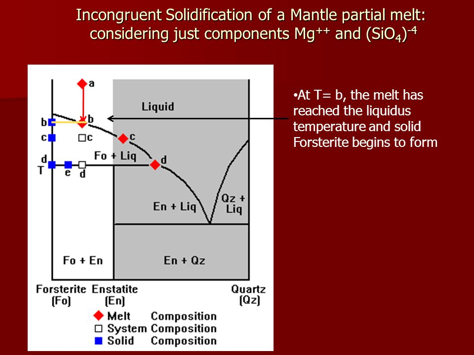 Incongruent Solidification of a Mantle partial melt: considering just components Mg ++ and (SiO 4 ) -4 At T= b, the melt has reached the liquidus temperature and solid Forsterite begins to form