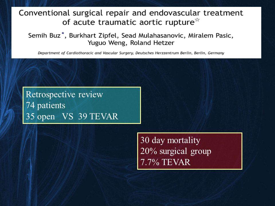 Retrospective review 74 patients 35 open VS 39 TEVAR 30 day mortality 20% surgical group 7.7% TEVAR