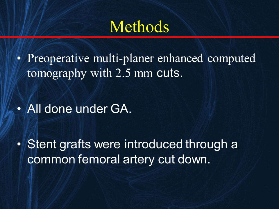 Methods Preoperative multi-planer enhanced computed tomography with 2.5 mm cuts.