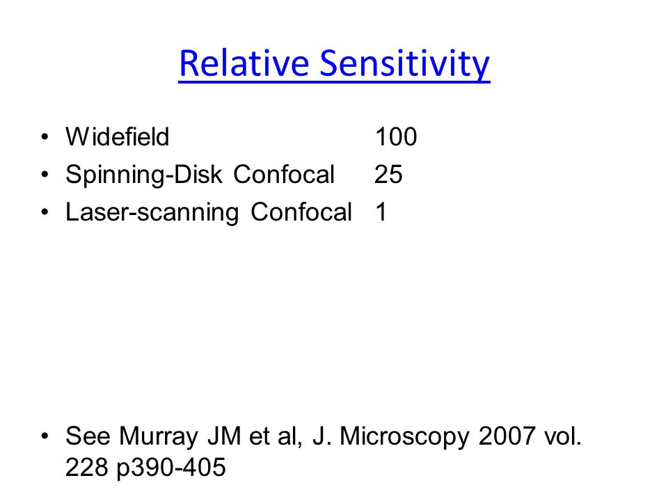 Relative Sensitivity Widefield100 Spinning-Disk Confocal25 Laser-scanning Confocal1 See Murray JM et al, J. Microscopy 2007 vol. 228 p390-405