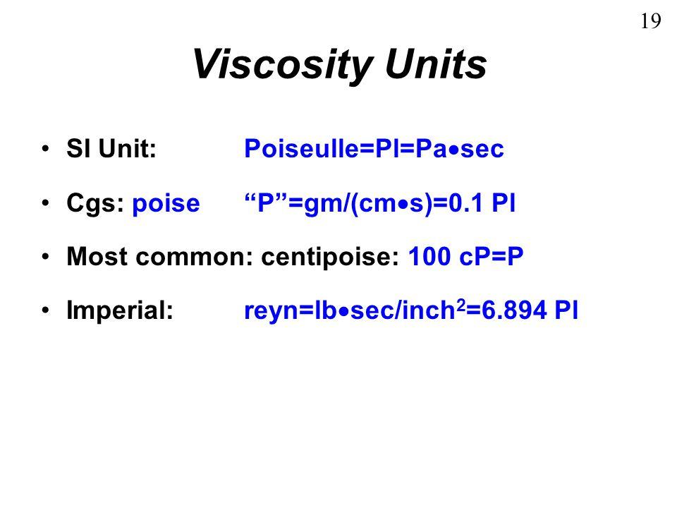 Viscosity Table Water: 1 cP Corn oil:50 cP SAE 10W3500 cP SAE 20W4500 cP 20