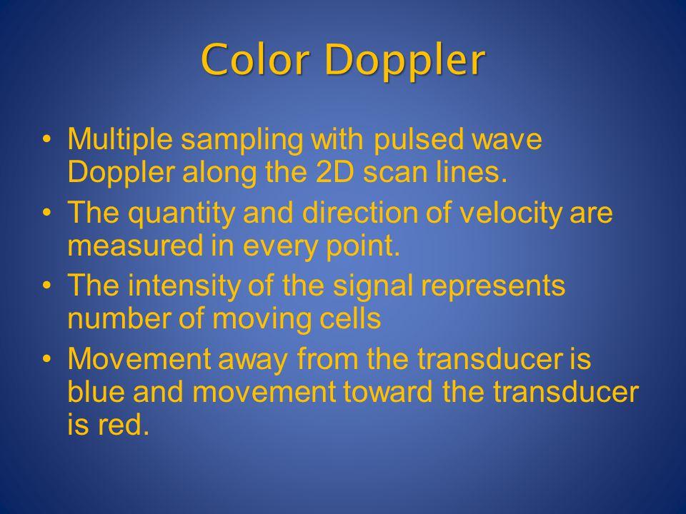Color Doppler Multiple sampling with pulsed wave Doppler along the 2D scan lines.