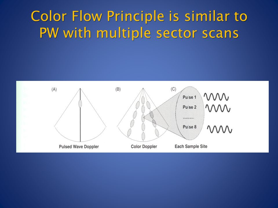Color Flow Principle is similar to PW with multiple sector scans