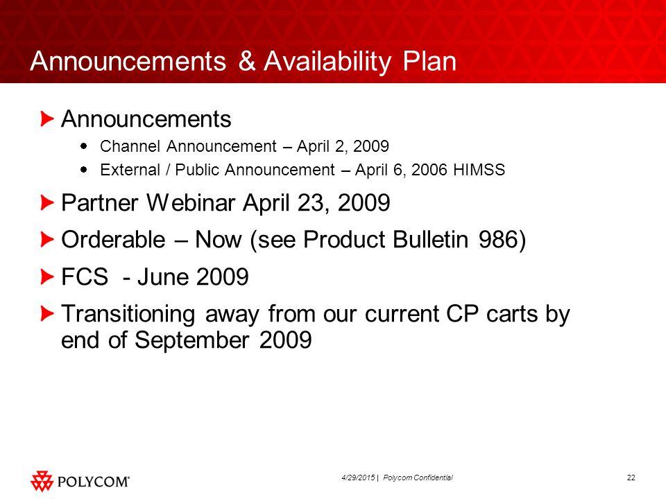 224/29/2015 | Polycom Confidential Announcements & Availability Plan Announcements  Channel Announcement – April 2, 2009  External / Public Announce