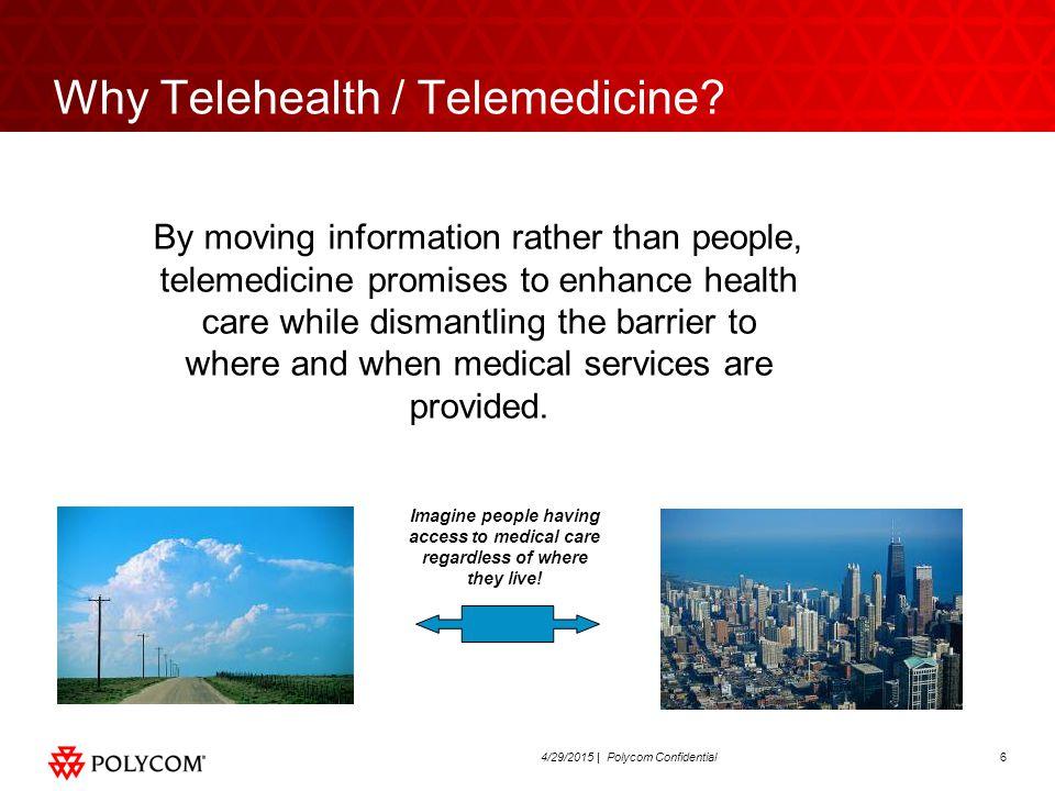 64/29/2015 | Polycom Confidential Why Telehealth / Telemedicine.