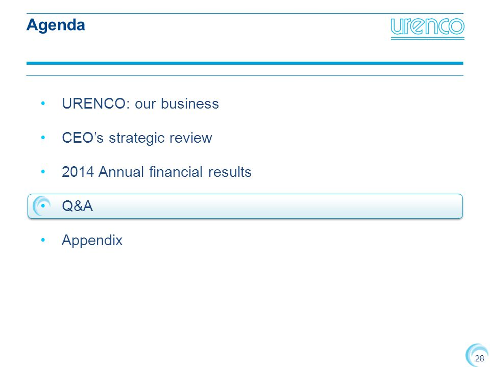 28 URENCO: our business CEO's strategic review 2014 Annual financial results Q&A Appendix Agenda