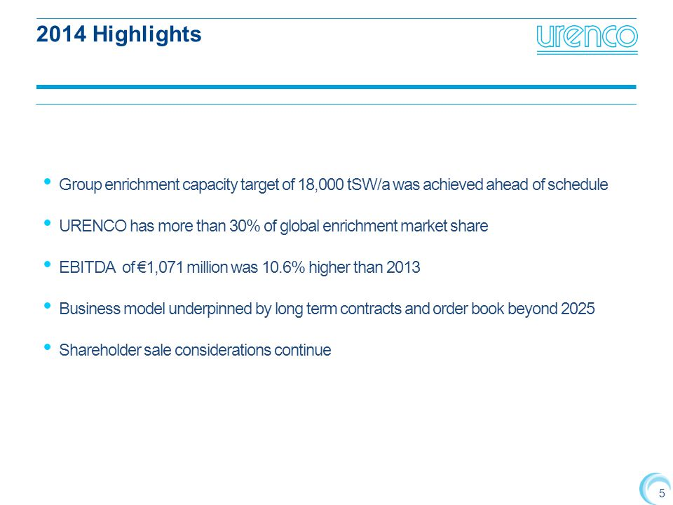 5 2014 Highlights Group enrichment capacity target of 18,000 tSW/a was achieved ahead of schedule URENCO has more than 30% of global enrichment market share EBITDA of €1,071 million was 10.6% higher than 2013 Business model underpinned by long term contracts and order book beyond 2025 Shareholder sale considerations continue