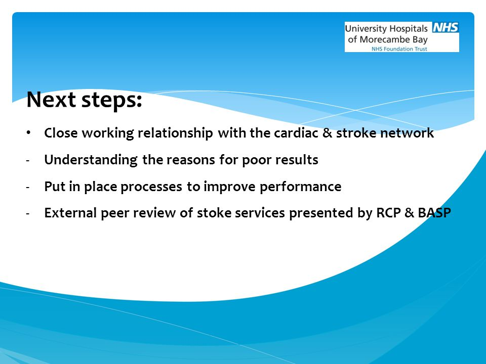 Next steps: Close working relationship with the cardiac & stroke network -Understanding the reasons for poor results -Put in place processes to improv