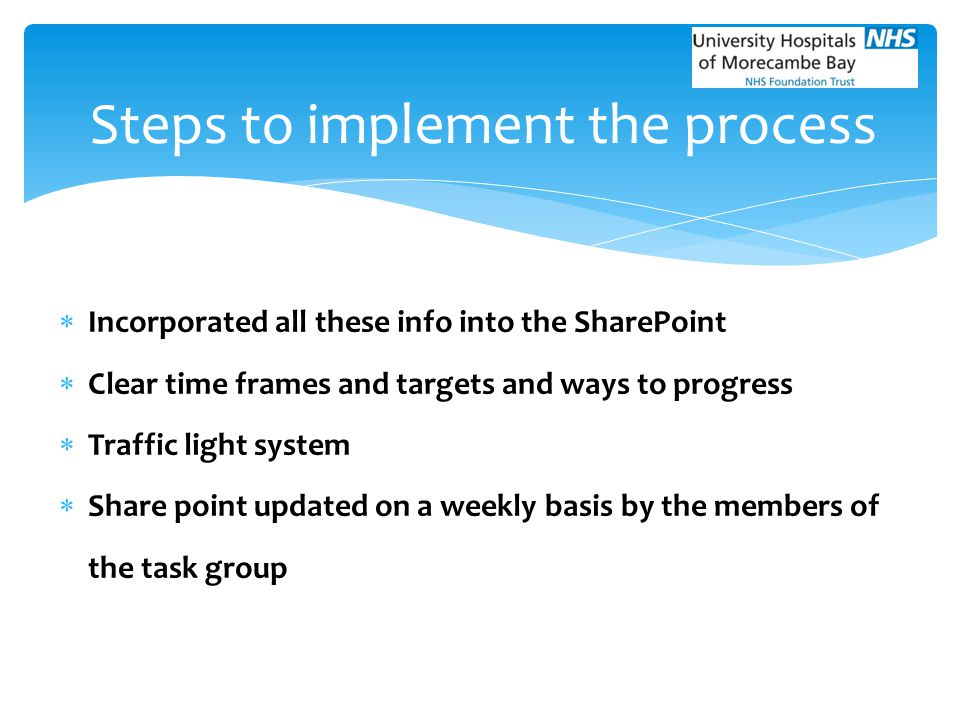  Incorporated all these info into the SharePoint  Clear time frames and targets and ways to progress  Traffic light system  Share point updated on
