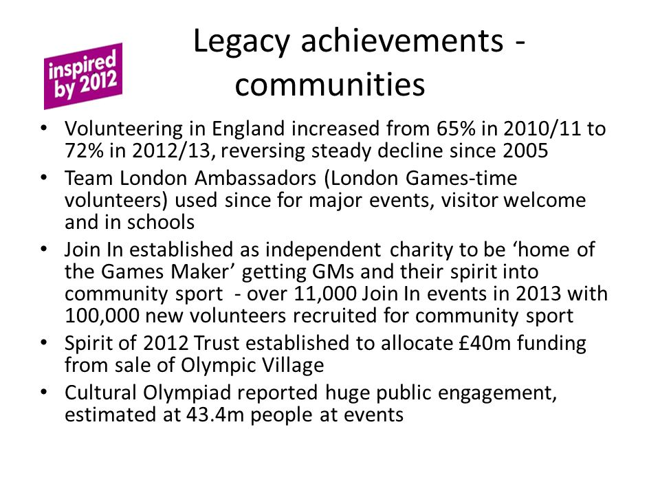 Legacy achievements - communities Volunteering in England increased from 65% in 2010/11 to 72% in 2012/13, reversing steady decline since 2005 Team London Ambassadors (London Games-time volunteers) used since for major events, visitor welcome and in schools Join In established as independent charity to be 'home of the Games Maker' getting GMs and their spirit into community sport - over 11,000 Join In events in 2013 with 100,000 new volunteers recruited for community sport Spirit of 2012 Trust established to allocate £40m funding from sale of Olympic Village Cultural Olympiad reported huge public engagement, estimated at 43.4m people at events