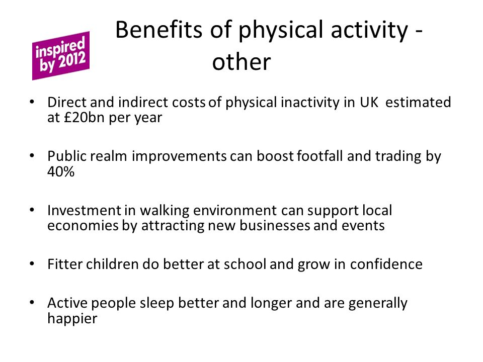 Benefits of physical activity - other Direct and indirect costs of physical inactivity in UK estimated at £20bn per year Public realm improvements can boost footfall and trading by 40% Investment in walking environment can support local economies by attracting new businesses and events Fitter children do better at school and grow in confidence Active people sleep better and longer and are generally happier