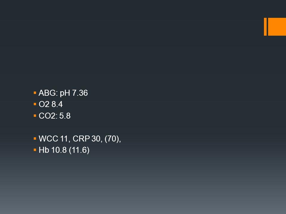  ABG: pH 7.36  O2 8.4  CO2: 5.8  WCC 11, CRP 30, (70),  Hb 10.8 (11.6)