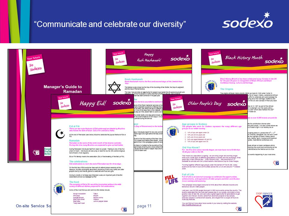 On-site Service Solutionspage 11 Communicate and celebrate our diversity