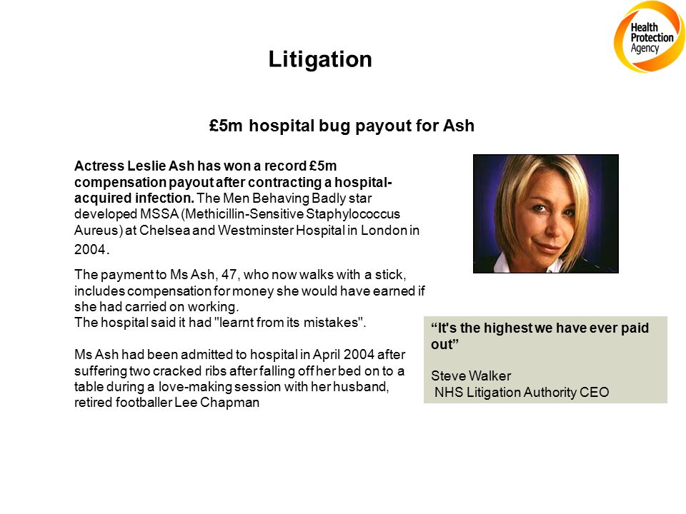 Litigation £5m hospital bug payout for Ash Actress Leslie Ash has won a record £5m compensation payout after contracting a hospital- acquired infection.