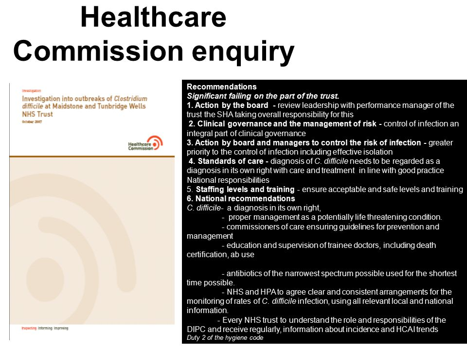 Healthcare Commission enquiry Recommendations Significant failing on the part of the trust.