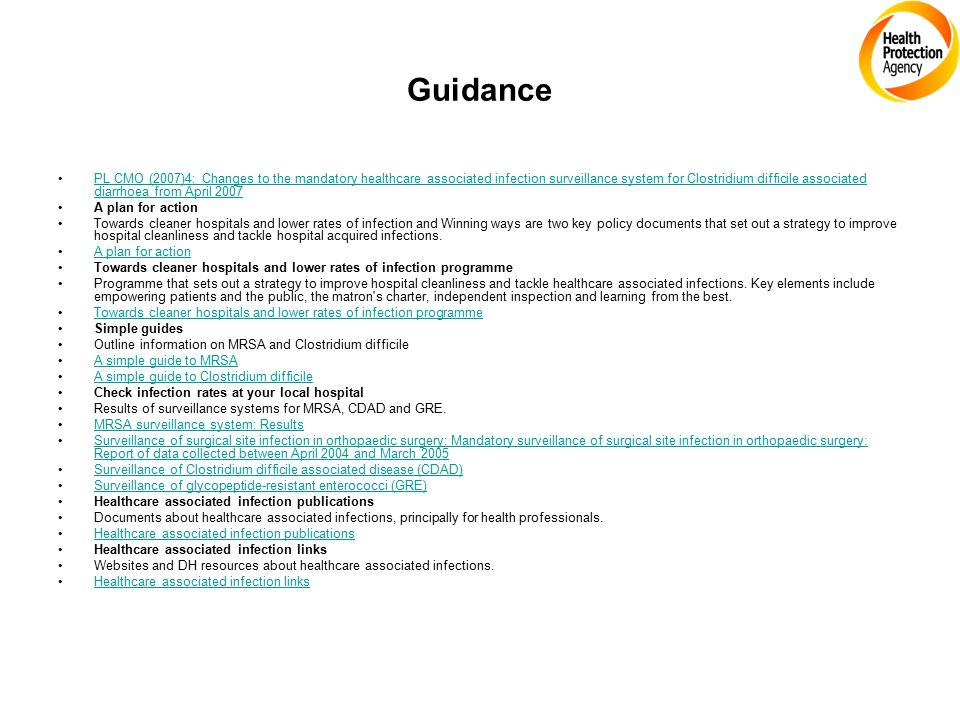 Guidance PL CMO (2007)4: Changes to the mandatory healthcare associated infection surveillance system for Clostridium difficile associated diarrhoea f