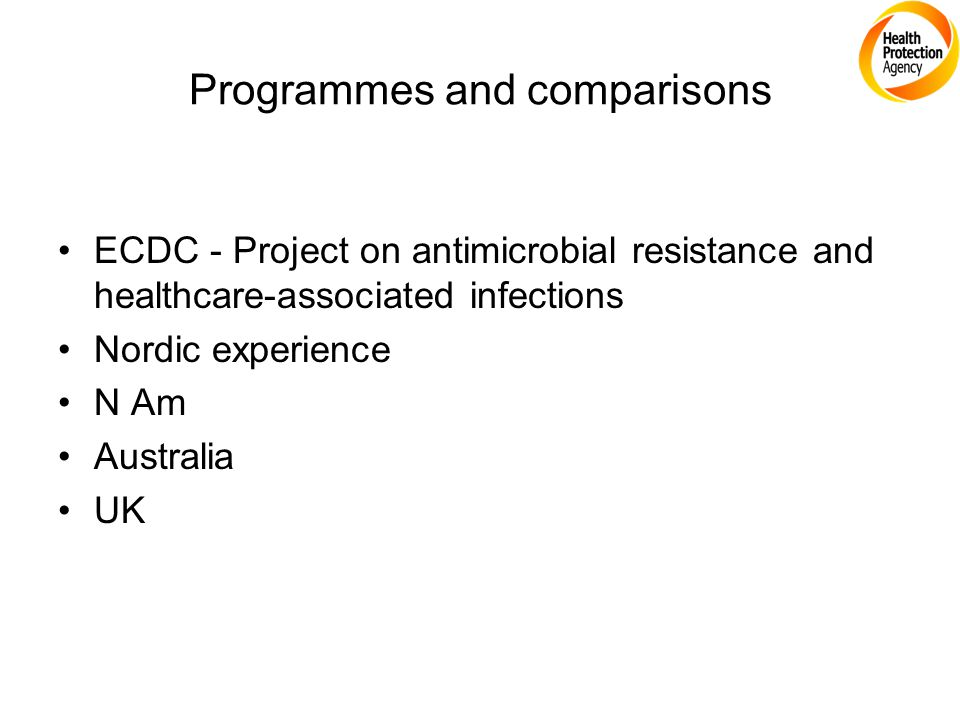 Programmes and comparisons ECDC - Project on antimicrobial resistance and healthcare-associated infections Nordic experience N Am Australia UK