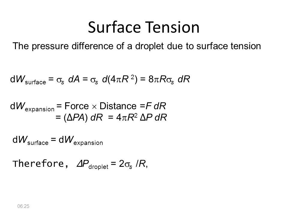 Fundamentals of Fluid Mechanics 42 Surface Tension 06:26 dW surface =  s dA =  s d(4  R 2 ) = 8  R  s dR dW expansion = Force  Distance =F dR =