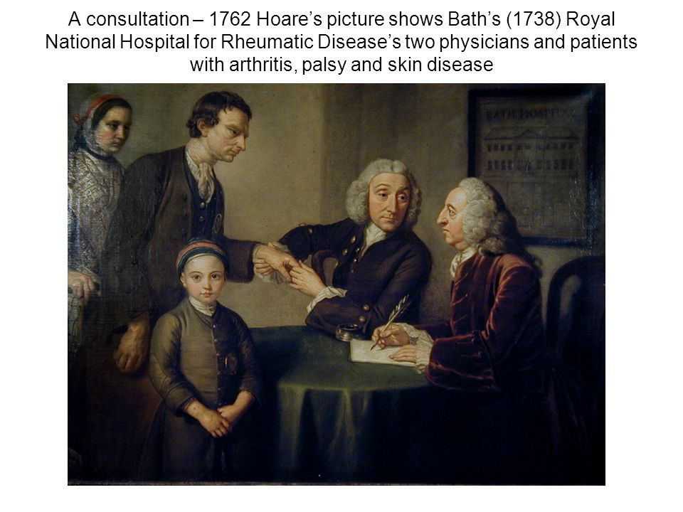 A consultation – 1762 Hoare's picture shows Bath's (1738) Royal National Hospital for Rheumatic Disease's two physicians and patients with arthritis,