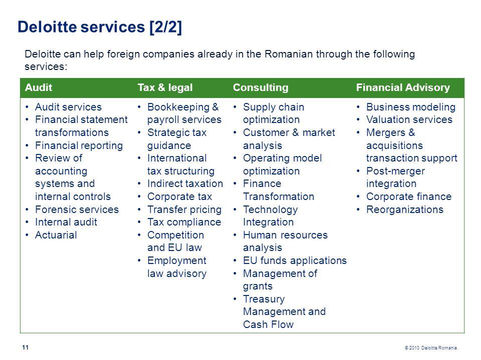 © 2010 Deloitte Romania. 11 Deloitte services [2/2] Deloitte can help foreign companies already in the Romanian through the following services: AuditT