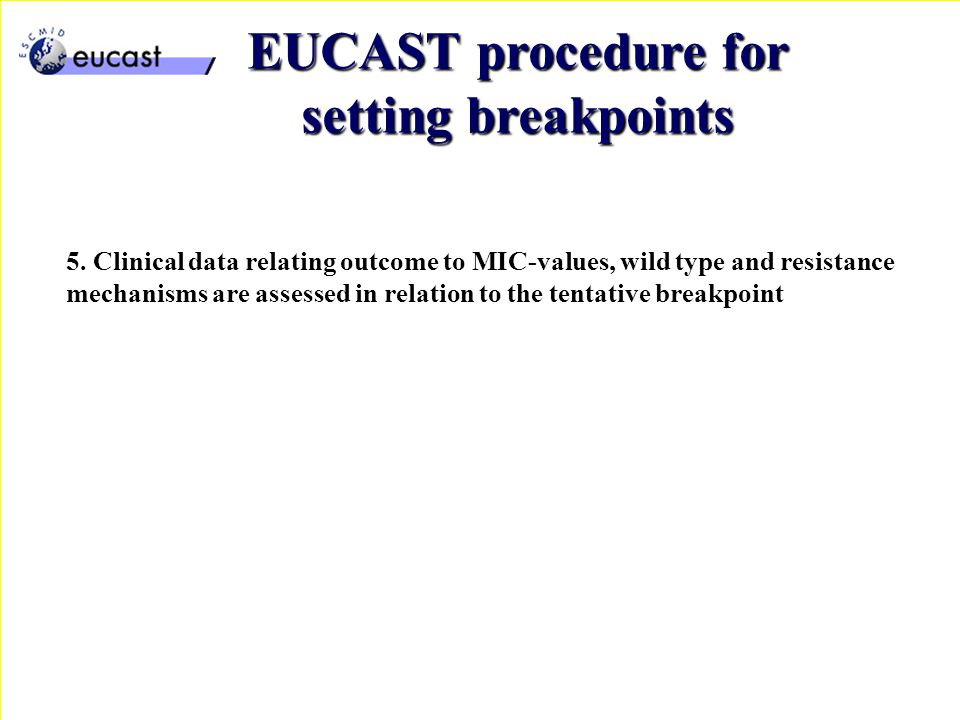 5. Clinical data relating outcome to MIC-values, wild type and resistance mechanisms are assessed in relation to the tentative breakpoint EUCAST proce