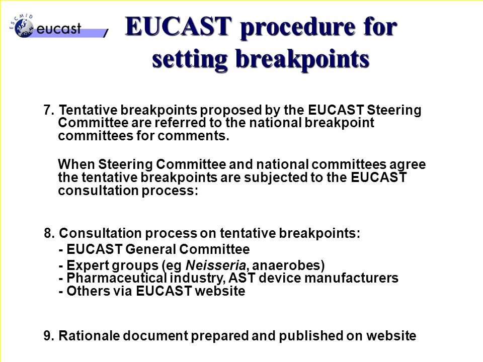 7. Tentative breakpoints proposed by the EUCAST Steering Committee are referred to the national breakpoint committees for comments. When Steering Comm