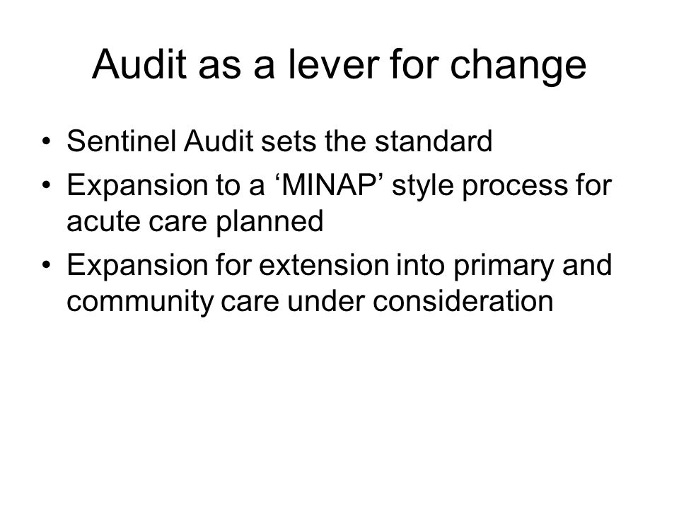 Audit as a lever for change Sentinel Audit sets the standard Expansion to a 'MINAP' style process for acute care planned Expansion for extension into primary and community care under consideration