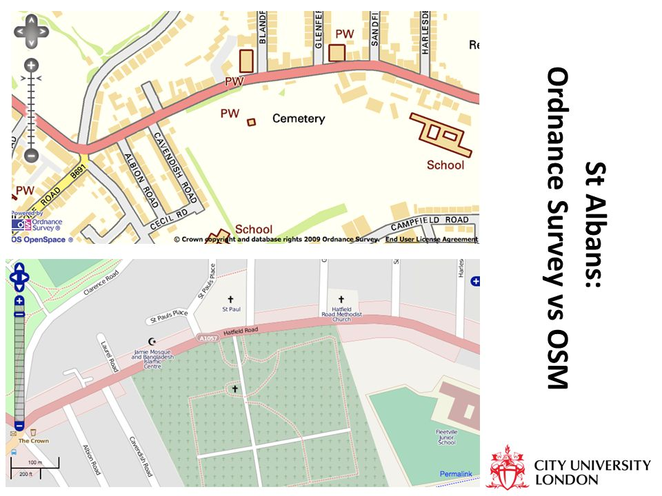 St Albans: Ordnance Survey vs OSM