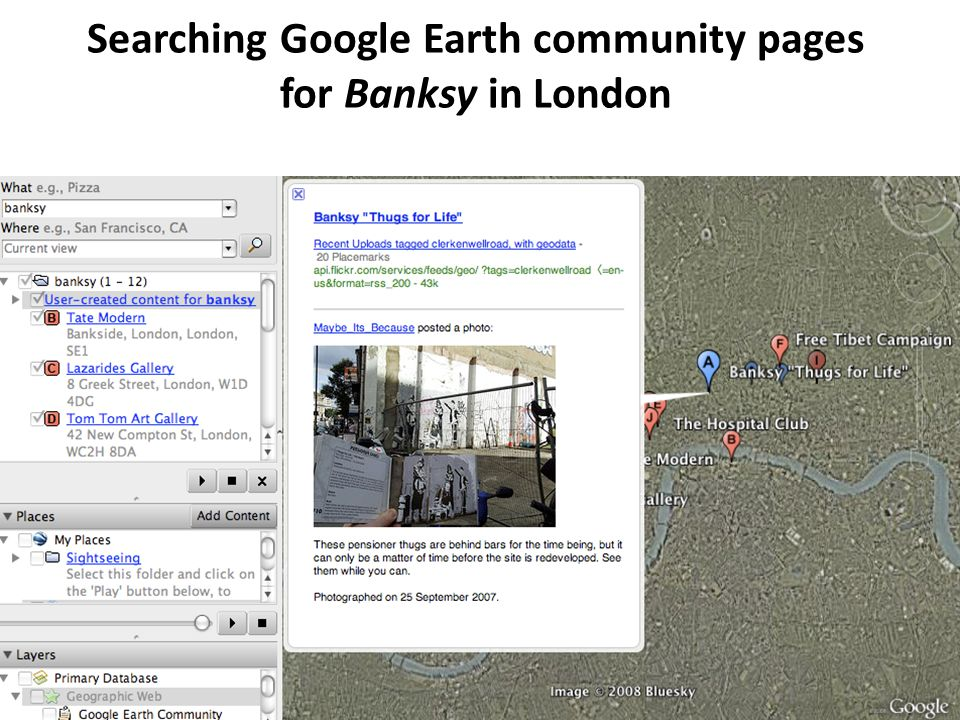 Searching Google Earth community pages for Banksy in London
