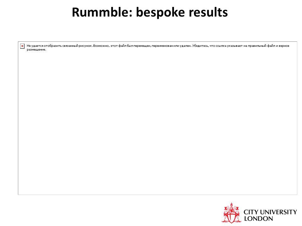 Rummble: bespoke results
