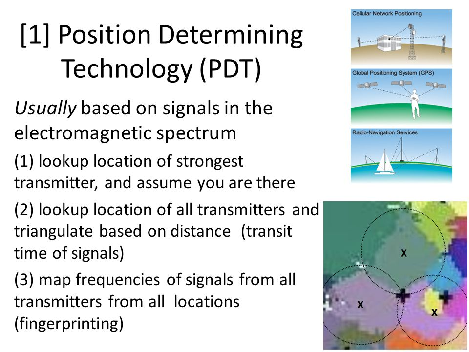 [1] Position Determining Technology (PDT) Usually based on signals in the electromagnetic spectrum (1) lookup location of strongest transmitter, and assume you are there (2) lookup location of all transmitters and triangulate based on distance (transit time of signals) (3) map frequencies of signals from all transmitters from all locations (fingerprinting)