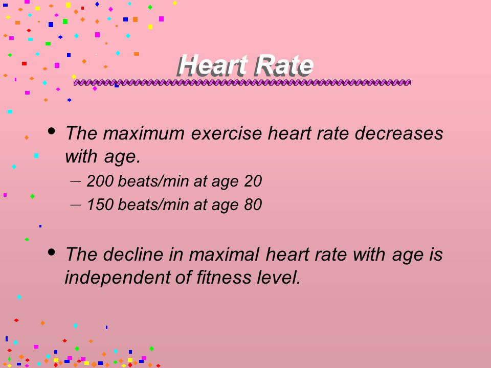 Heart Rate  Supine resting heart rate (HR) does not change very much with age.
