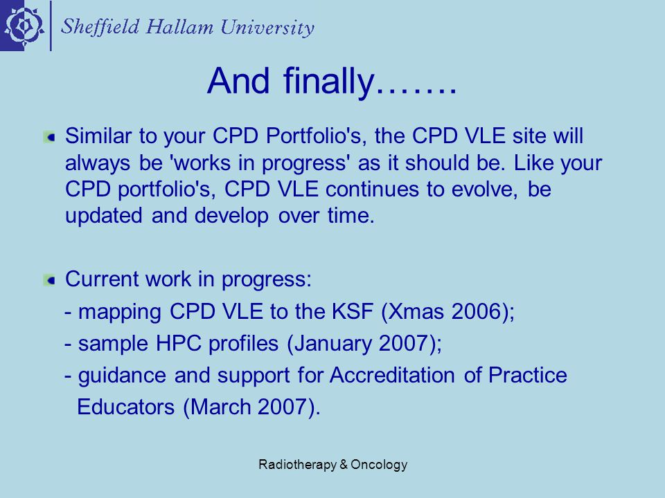 Radiotherapy & Oncology And finally…….