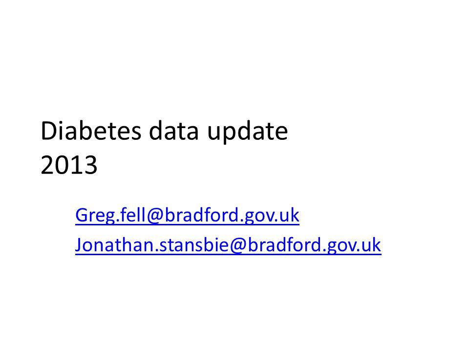Diabetes data update 2013 Greg.fell@bradford.gov.uk Jonathan.stansbie@bradford.gov.uk