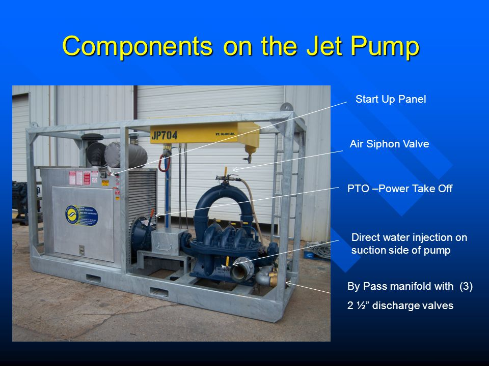 Components on the Jet Pump Air Siphon Valve By Pass manifold with (3) 2 ½ discharge valves Direct water injection on suction side of pump Start Up Panel PTO –Power Take Off