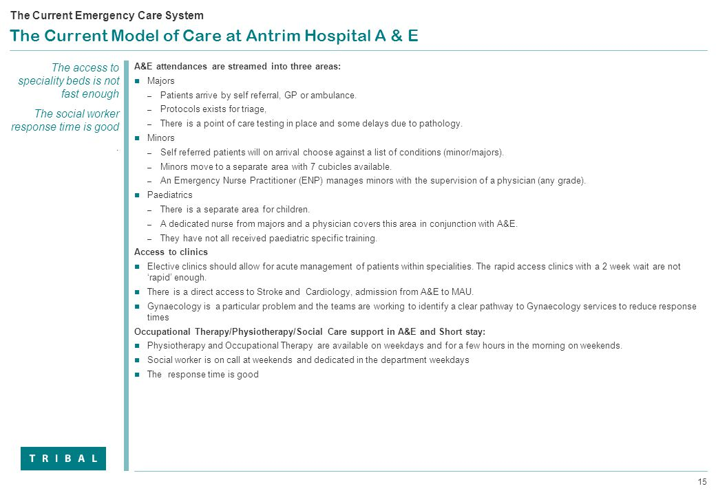 15 The Current Model of Care at Antrim Hospital A & E A&E attendances are streamed into three areas: Majors – Patients arrive by self referral, GP or ambulance.