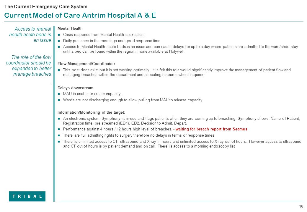 16 Current Model of Care Antrim Hospital A & E Mental Health Crisis response from Mental Health is excellent.