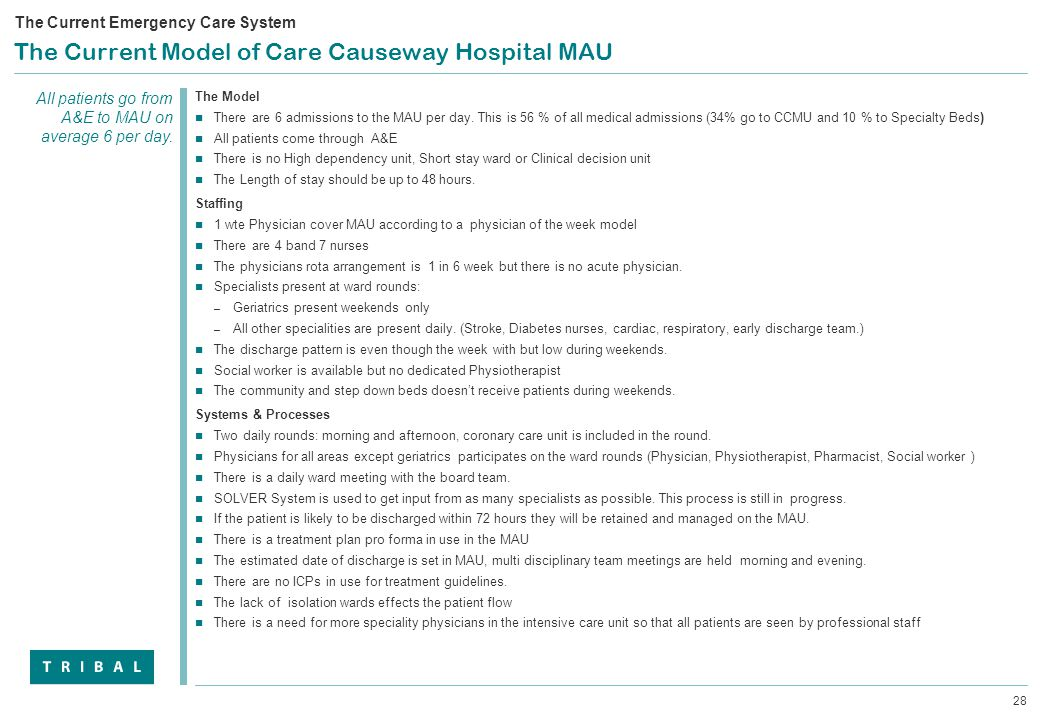 28 The Current Model of Care Causeway Hospital MAU The Model There are 6 admissions to the MAU per day.